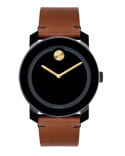 Men's 42mm Large Bold TR90 Watch with Leather Strap