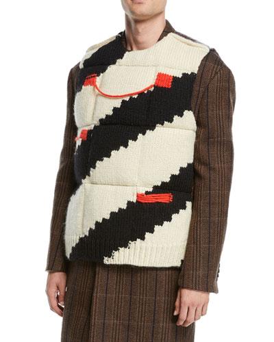 Men's Stripe Intarsia Down Padded Vest