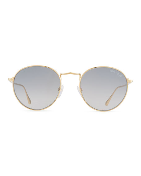 TOM FORD Men's Ryan Round Metal Sunglasses, Gold