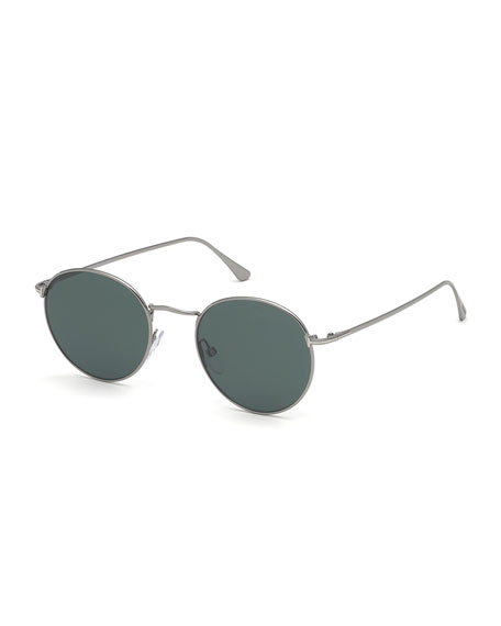 TOM FORD Men's Ryan Round Metal Sunglasses - Light Ruthenium/Dark Teal