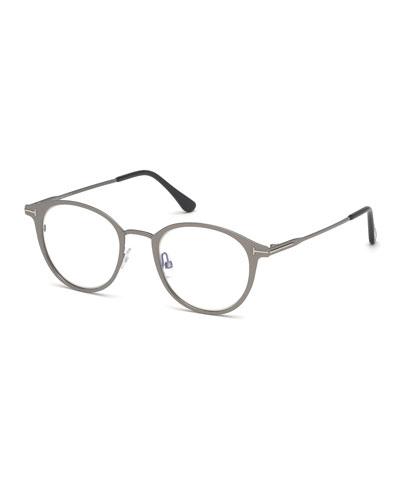 Men's Blue Light-Blocking Oval Metal Optical Glasses  Matte Gunmetal
