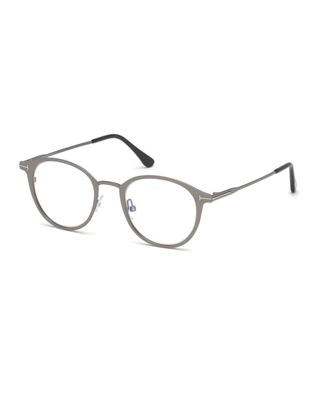 TOM FORD Men's Blue Light-Blocking Oval Metal Optical Glasses, Matte Gunmetal