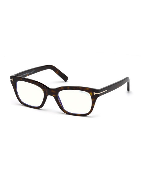 TOM FORD Men's Blue Light-Blocking Rectangle Acetate Optical Frames