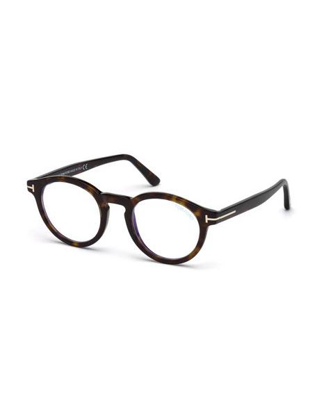 TOM FORD Men's Blue Light-Blocking Round Acetate Optical Glasses