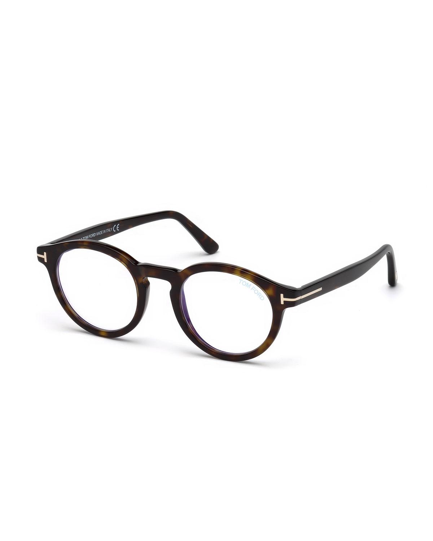 2986ed8aa TOM FORD Men's Blue Light-Blocking Round Acetate Optical Glasses ...