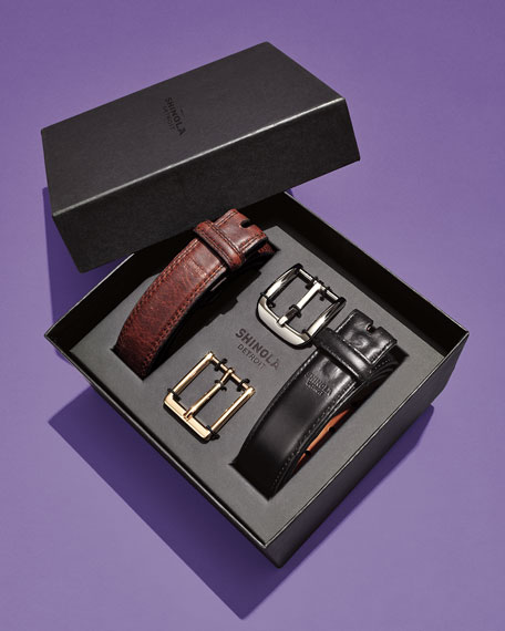 Men's Leather Belt Boxed Gift Set