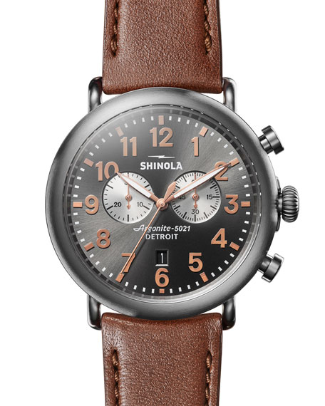 Men'S 47Mm Runwell Titanium Chronograph Watch With Brown Leather Strap
