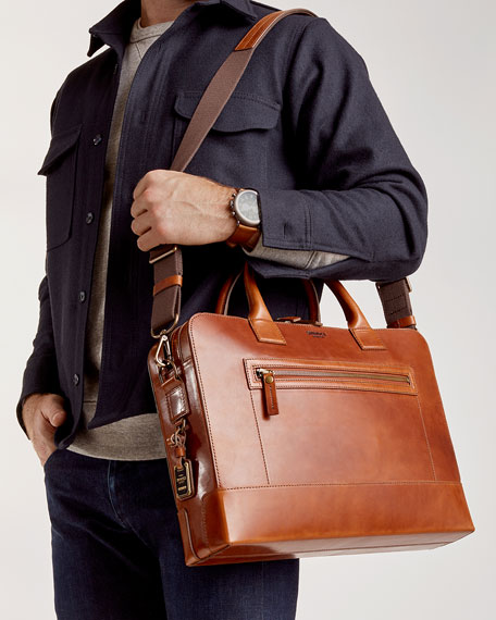 "Image 5 of 5: Shinola Men's Bedrock Embossed Harness Briefcase - 15"" Laptop"
