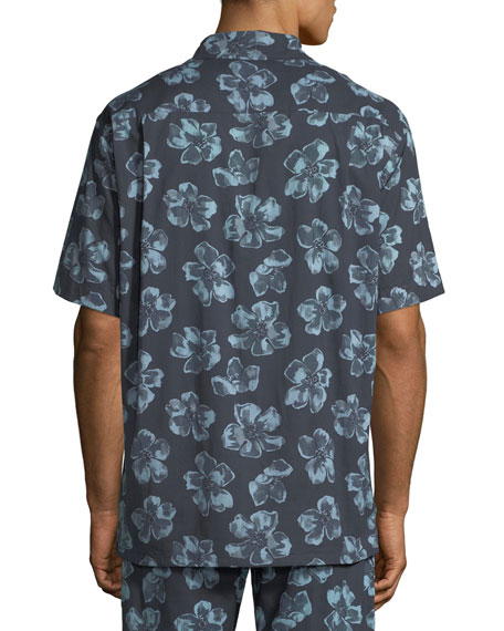 Desmond & Dempsey Men's Floral Cuban Short-Sleeve Shirt