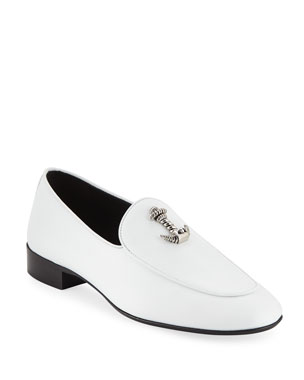 f088c5c80b7 Giuseppe Zanotti Men s Dressy Leather Loafers with Anchor Detail