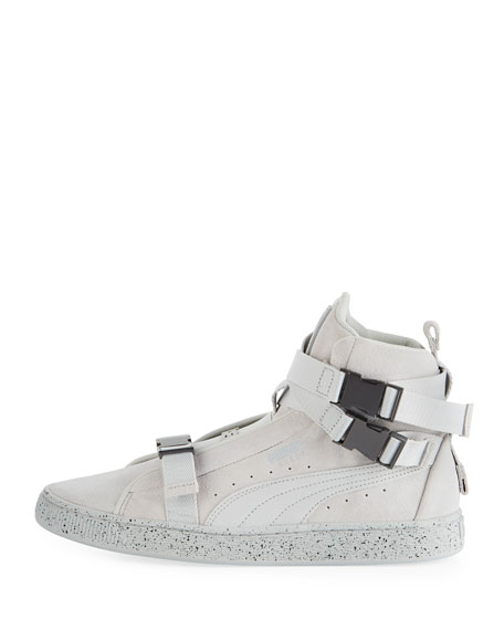 Men's Classic Suede High-Top Weekend Sneakers, Gray/White