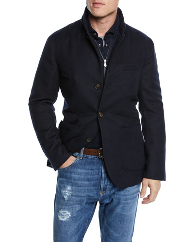 Men's Outerwear Coat with Bib