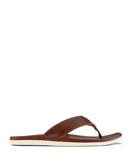 Olukai Men's Nalukai Leather Flip-Flop Sandal