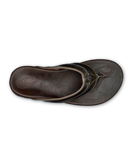 Olukai Men's Mea Ola Leather Thong Sandals