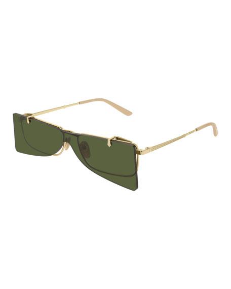 Gucci Men's Rectangle Clip-On Metal Sunglasses