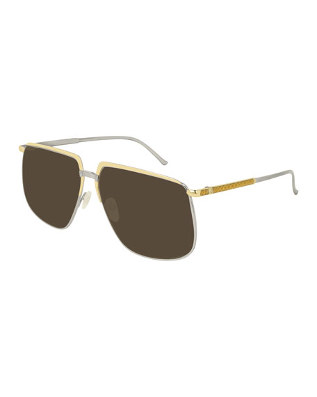 Gucci Men's Flat-Top Two-Tone Metal Sunglasses