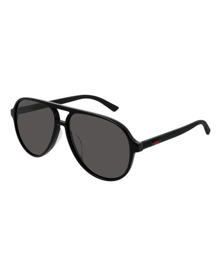 Gucci Men's GG0423SA001M Acetate Aviator Sunglasses
