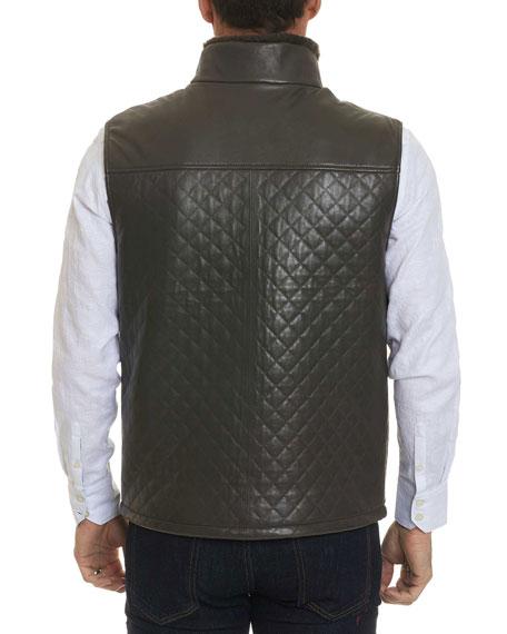 Robert Graham Men's Fowler Quilted Leather Zip-Front Vest
