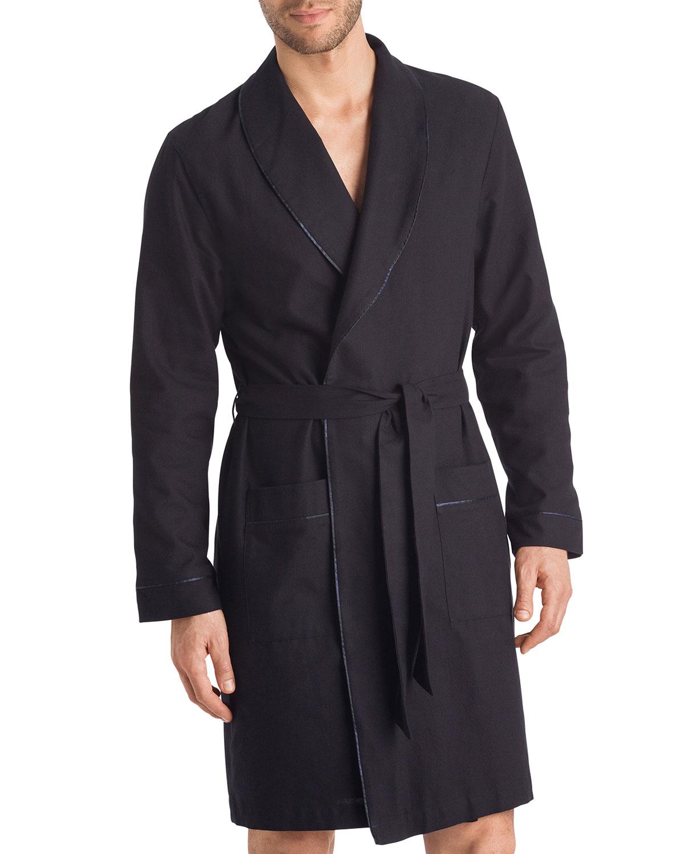 Hanro Men's Black Select Cotton Robe