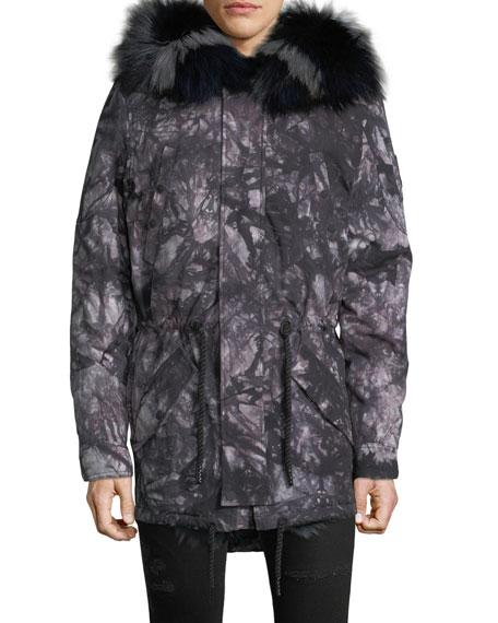MOOSE KNUCKLES Men'S Pelican Fur-Trim Parka Coat in Gray