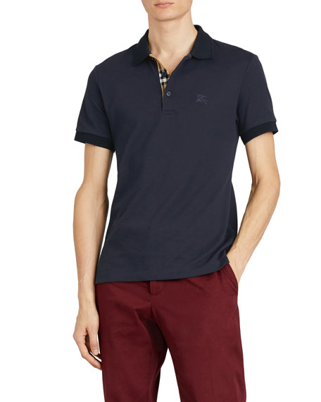 Burberry Hartford Check-Facing Polo Shirt, Navy