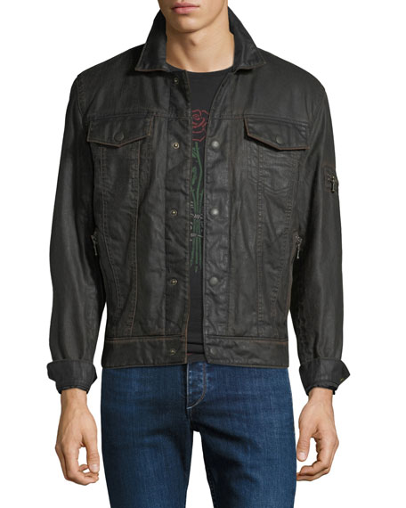 John Varvatos Star USA Men's Zip-Pocket Jean Jacket