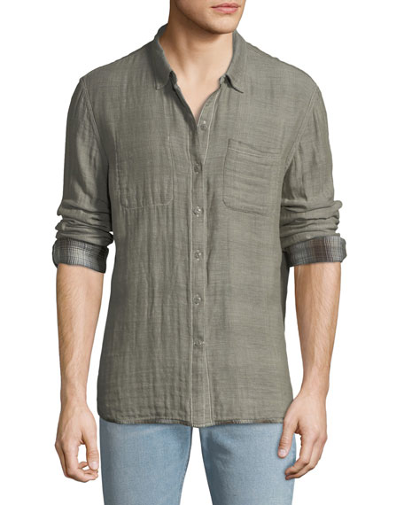 John Varvatos Star USA Men's Reversible Sport Shirt, Brown