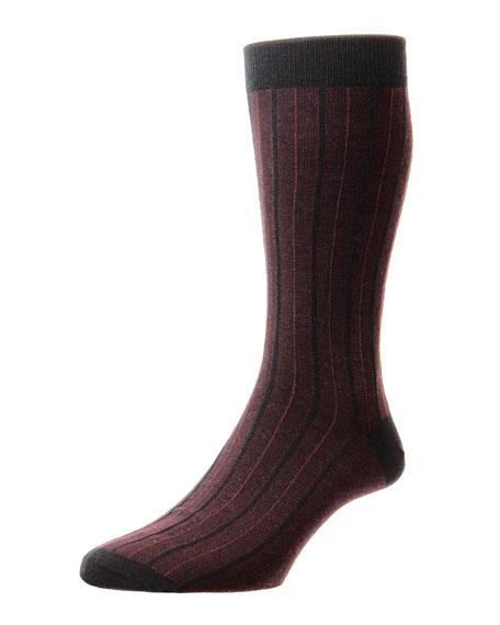 Pantherella Men's Fitzroy Pinstripe Jacquard Socks