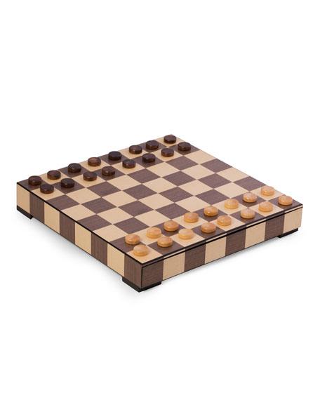 Bey-Berk Wood Matte Inlay Chess/Checkers Set