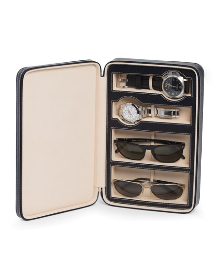Bey-Berk Leather Watch & Sunglasses Storage Case