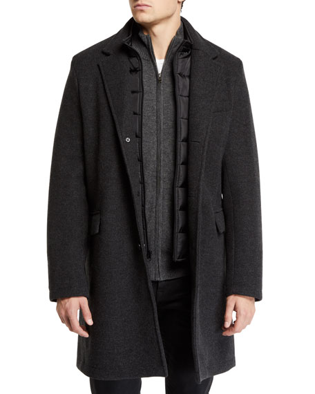 Andrew Marc Men's Car Coat with Removable Puffer