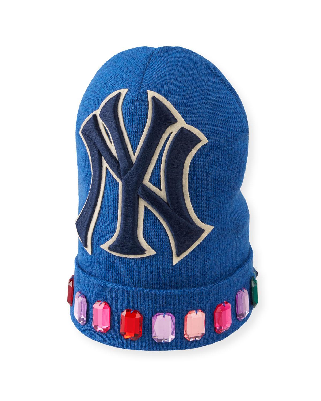 42865469 Gucci Men's Jewel-Trim New York Yankees-Applique Beanie Hat | Neiman ...