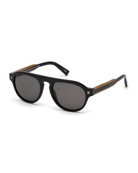 Ermenegildo Zegna Men's Round Plastic Keyhole Sunglasses