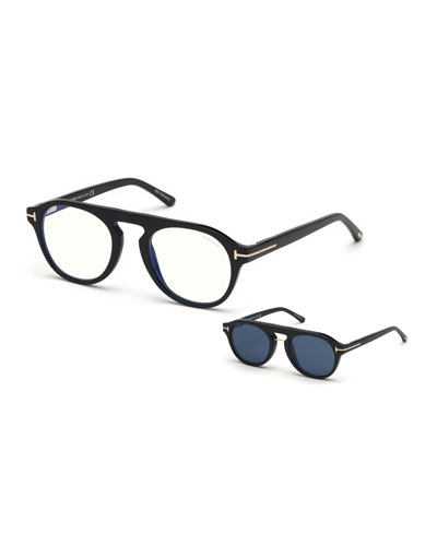 Men's Round Optical Glasses w/ Magnetic Clip On Blue-Block Shade