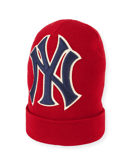 Gucci Men's New York Yankees MLB Patch Beanie Hat