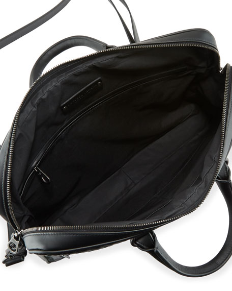 Bottega Veneta Men's Slim Woven Leather Briefcase