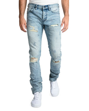 2d38f448 PRPS Men's Rip/Repair Distressed Tapered Jeans with Multi-Stitch