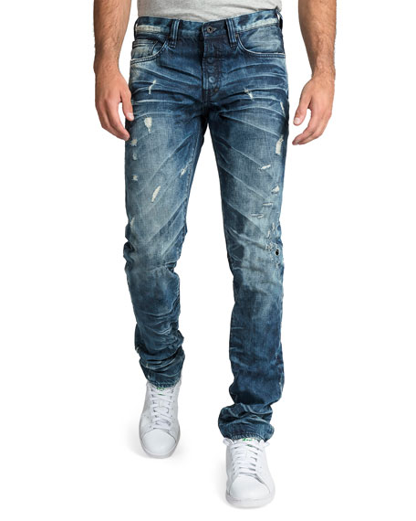 PRPS Men's Le Sabre Distressed Dark-Wash Jeans with Abrasions
