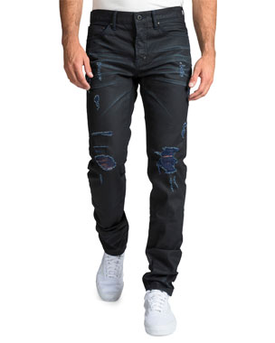 3ce202bc4ad3 PRPS Men's Le Sabre Repaired-Distressed Jeans