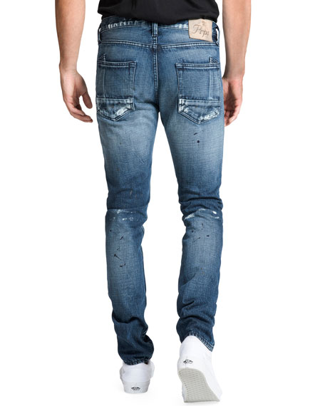 PRPS Men's Le Sabre Distressed Jeans with Abrasions