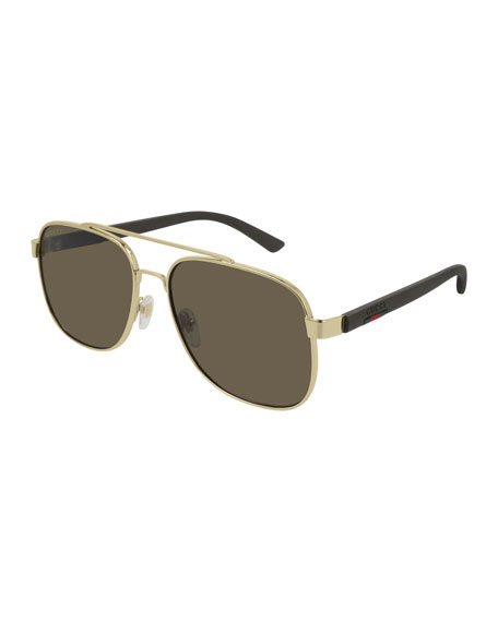 Image 1 of 1: Men's GG0422S003M Aviator Sunglasses