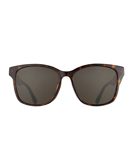 Image 2 of 3: Men's Square Tortoise Acetate Sunglasses with Signature Web