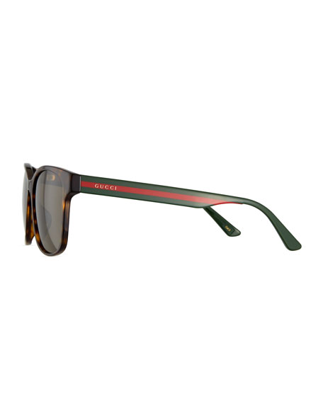 Image 3 of 3: Men's Square Tortoise Acetate Sunglasses with Signature Web