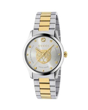 c04b807d0 Gucci Men s Feline Head Yellow Gold PVD-Trim Bracelet Watch