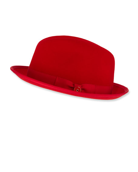 Keith and James Men's Prince Red-Brim Wool Fedora Hat, Rose