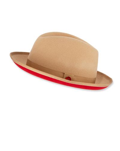 Men's King Red-Brim Wool Fedora Hat  Beige