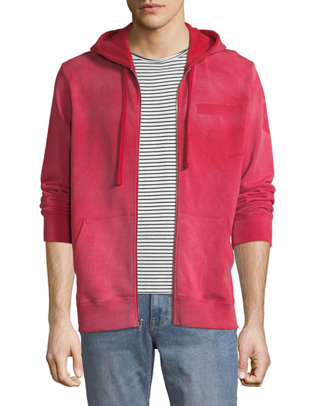 Ovadia Men's Type-O1 Washed Jersey Zip-Front Hoodie, Red