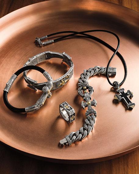 Konstantino Men's Stavros Sterling Silver Link Bracelet with 18k Gold Details
