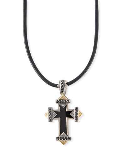 Men's Stavros Onyx-Inset Cross Pendant
