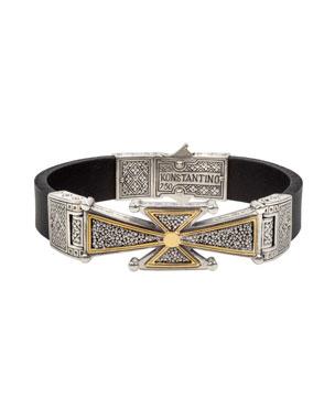 a54f4ab528c6 Konstantino Men's Stavros 18k Gold Cross Leather Cuff Bracelet